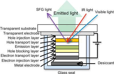 Evaluating molecules within a sealed organic light emitting diode device