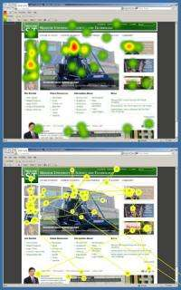 Eye-tracking studies: first impressions form quickly on the web