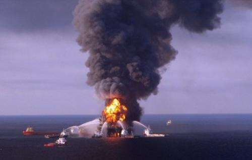 Fire boats battle the blazing remnants of the off-shore oil rig Deepwater Horizon April 21, 2010.