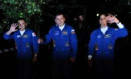(From L-R) Japanese astronaut Akihiko Hoshide, Russian cosmonaut Yury Malenchenko and US astronaut Sunita Williams