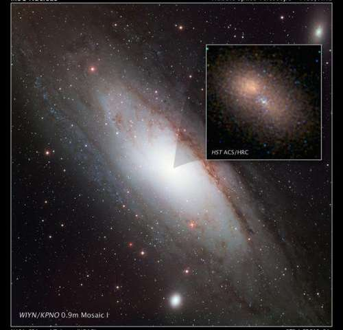 Hubble zooms in on double nucleus in Andromeda galaxy