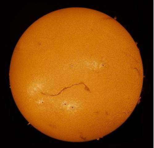 Huge solar filament stretches across the Sun
