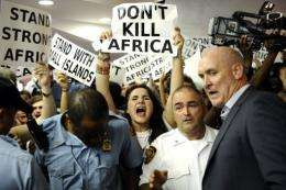 Hundreds of people protest the UN Climate Talks in 2011 in Durban