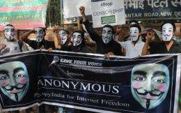 Indian supporters of the Anonymous collective