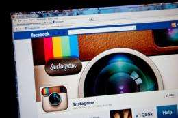 Instagram's fan page is seen on Facebook