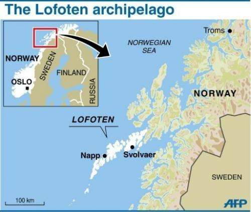 Map showing the idyllic Arctic archipelago of Lofote