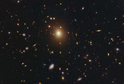 Monster galaxy may have been stirred up by black-hole mischief