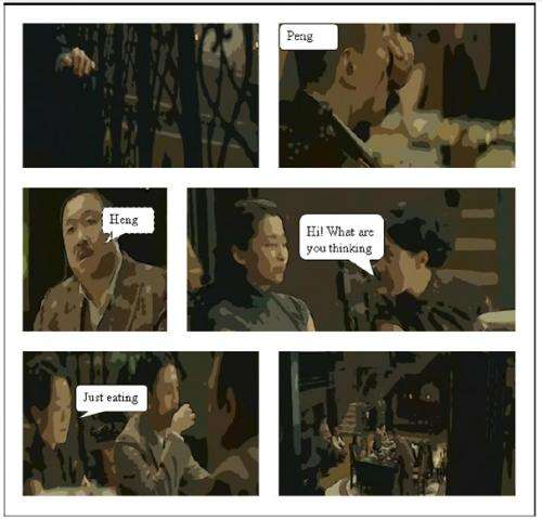 Software automatically transforms movie clips into comic strips