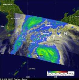 NASA saw Tropical Storm Guchol's rainfall drench Japan
