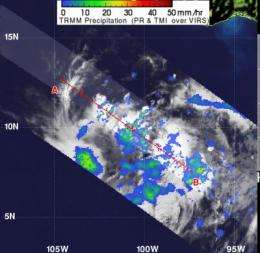 NASA sees a 'hot tower' in newborn eastern Pacific Tropical Depression 2E