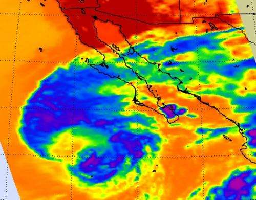 NASA sees a western weakness in Tropical Storm Miriam