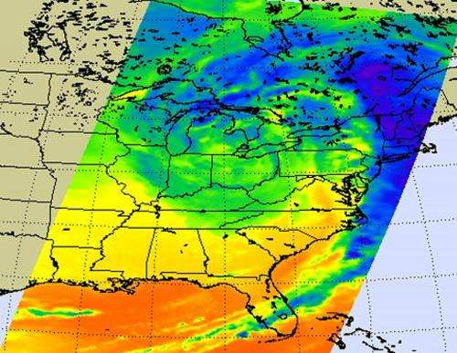 NASA Sees the major Midwestern snowstorm in infrared light
