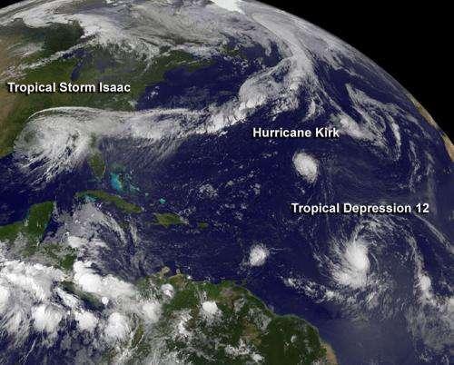 NASA spies fifth Atlantic hurricane and twelfth tropical depression