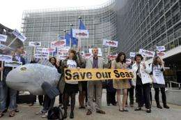 People demonstrate in 2011 in front of EU headquarters in Brussels in favor of restoring fish stocks