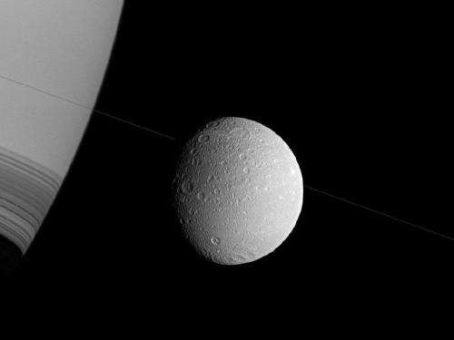 Saturn and its moon dione