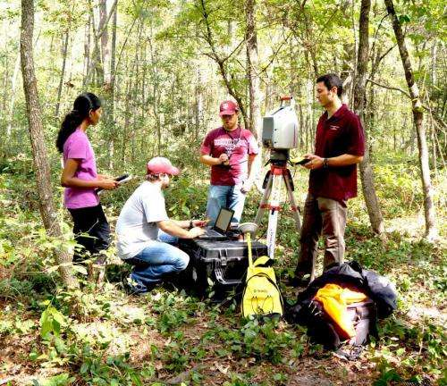 Scientist taking infrared laser look at forests
