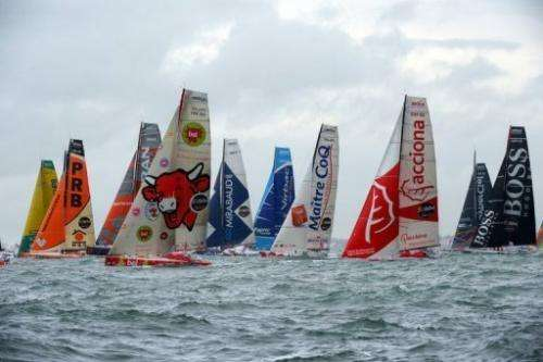 Skippers compete on board their monohulls at the start of the Vendee Globe