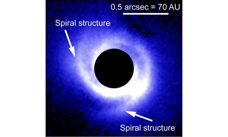 Spiral structure of disk may reveal planets