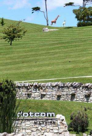 """Statues of animals stand on a hill at the """"Dotcom Mansion"""", owned by the founder of Megaupload"""