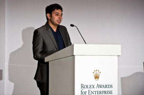 Sumit Dagar addresses a press conference to announce the Winners of Young Laureates Rolex Award