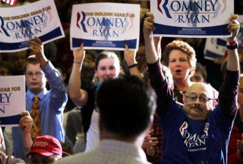 Supporters rally in support of Republican US presidential candidate Mitt Romney in Ohio in September