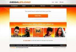 The home page of Megaupload.com, one of the largest file-sharing websites shut down by US authorities