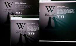 The homepages of the Wikipedia website with a protest message