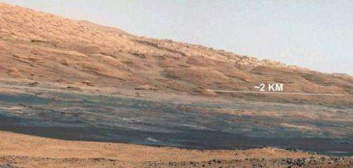 The landing site of NASA's Curiosity rover toward the lower reaches of Mount Sharp