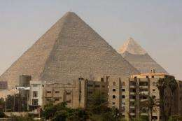 The pyramids in the Giza plateau in the outskirts of Cairo are pictured