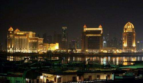 The Qatari capital Doha at night on November 19