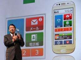 The Raku-Raku smartphone will show large fonts and icons with simplified steps for emails and taking pictures