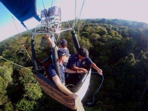 "The ""Rios Voadores"" air balloon flys over the Amazon Forest"
