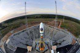 The Soyuz VS01 rocket sits on the launch pad at the Arianespace spaceport in French Guiana