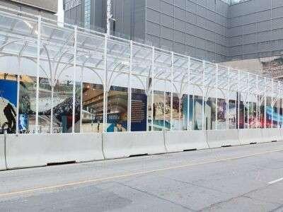 Toronto pedestrians protected by 'Urban Umbrella' during construction