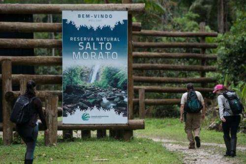 Trekkers arrive at Salto Morato Nature Reserve, in Guaraquecaba, in the southern state of Parana, Brazil