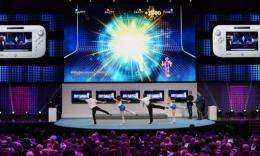 "Ubisoft's ""Just Dance 4"" multiperson dancing and signing game for Wii U is demonstrated at the E3 exhibition"