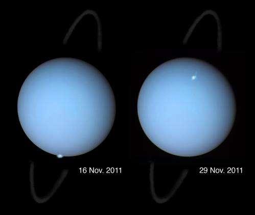 Uranus auroras glimpsed from Earth