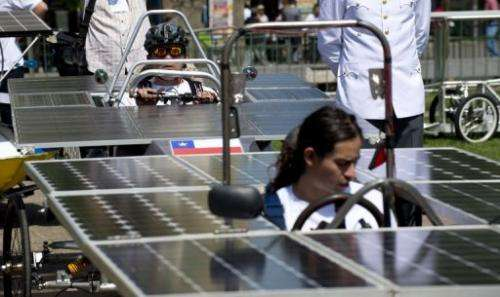 Vehicles are presented ahead of the Atacama Solar Challenge car race in Santiago