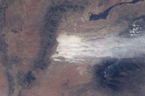 View from orbit of a huge white sands dust storm