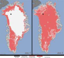 Warming and melting on top of the Greenland ice sheet