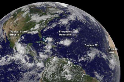 Watching a train of storminess in the tropical Atlantic ocean