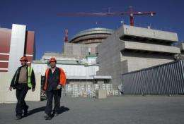 Workers leave a power plant run by Finnish company TVO on Olkiluoto island, Finland, in May 2011