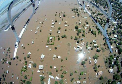 An aerial photo taken on January 25, 2013 shows the flood-devastated southern Mozambican town of Chokwe