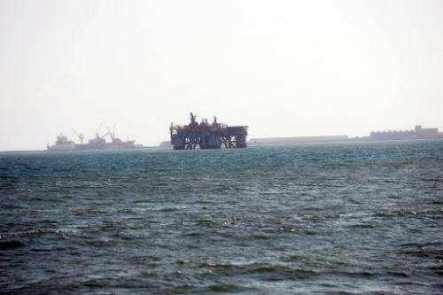 An oil rig in Sekondi waters, Ghana, is pictured on December 1, 2012