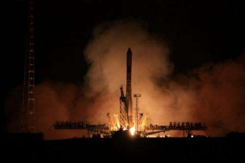 A Russian Soyuz rocket blasts off from Baikonur cosmodrome in Kazakhstan, on August 2, 2012
