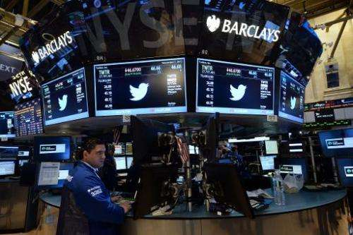 A stock trader works as Twitter logo and share price are displayed on screens on the trading floor of the New York Stock Exchang