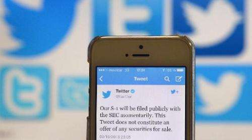 A Twitter tweet announcing the company's planned initial public offering (IPO) is pictured on a mobile telephone in Madrid on Oc