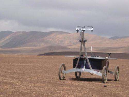 Autonomous rover drills underground in the Atacama
