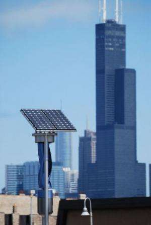 A wind and solar generating unit at the corner of Blue Island and Cermak in Chicago pictured on April 1, 2013