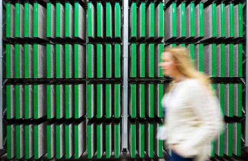 A woman walks in the Coil Room of the new Facebook Data Center outside the US on November 7, 2013 in Luleaa, in Swedish Lapland